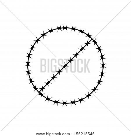Ban Sign Of Barbed Wire. Prohibited Fences
