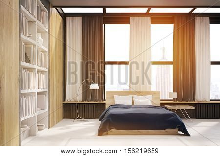 New York Bedroom Interior With Bookcase, Toned