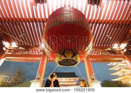Defocused Of People Pray At Asakusa Temple