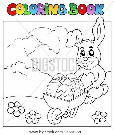 Coloring Book With Bunny And Barrow