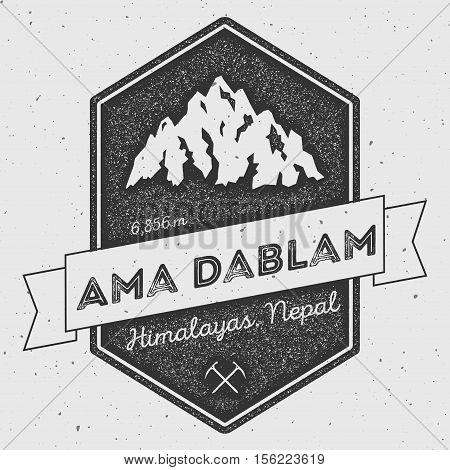 Ama Dablam In Himalayas, Nepal Outdoor Adventure Logo. Pennant Expedition Vector Insignia. Climbing,