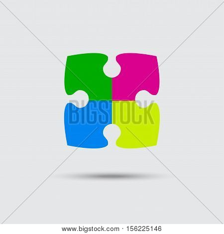 Puzzle Four Color Piece Sign Icon. Strategy Symbol. Puzzle Piece Button with Shadow. Modern UI wWbsite Navigation. Vector.