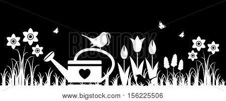 vector spring flowers, watering can and mother bird bringing worm isolated on black background