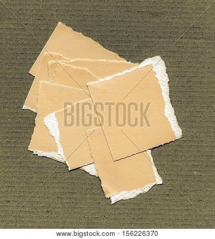 Vintage Looking Yellow Torn Paper Pieces