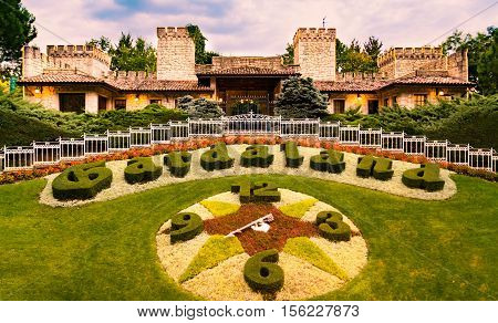 CASTELNUOVO DEL GARDA Italy - September 08: Gardaland Theme Park in Castelnuovo Del Garda Italy on Tuesday September 8 2015. Three million people visit the park on a yearly basis.
