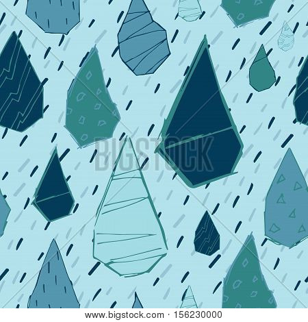 Raindrops Vector Seamless Pattern. Handdrawn Rainy Pattern Background. Naive Melancholic Raindrops S