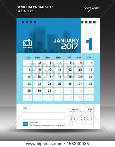 January Desk calendar 2017, Blue Calendar 2017, vertical calendar 2017 size 6 x 8 inch vector template