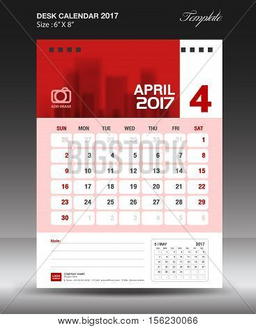 April Desk calendar 2017,  Red Calendar 2017, vertical calendar 2017 size 6 x 8 inch vector template