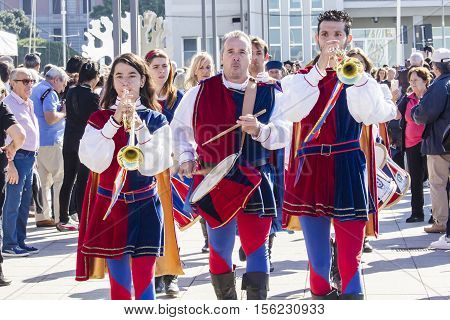 CAGLIARI ITALY - October 29 2016: Invitas waterfront Sardinia Port of performances and food traditions. - Drummers and flag bearers of Iglesias