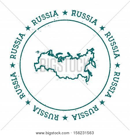 Russian Federation Vector Map. Retro Vintage Insignia With Country Map. Distressed Visa Stamp With R