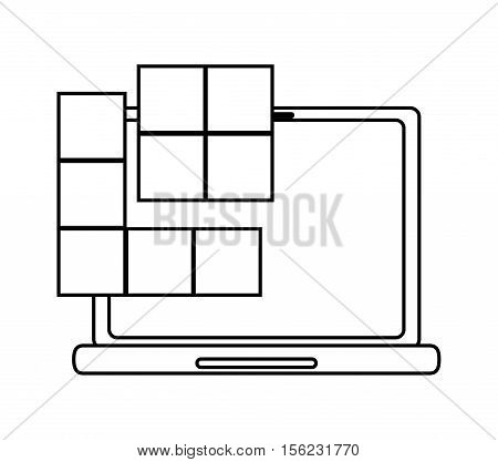 Laptop and tetrix videogame icon. Game play leisure gaming and controller theme. Isolated design. Vector illustration
