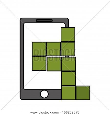 Smartphone and tetrix videogame icon. Game play leisure gaming and controller theme. Isolated design. Vector illustration