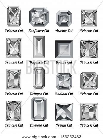 Set of realistic white diamonds with rectangle cuts isolated on white background. Jewel and jewelry. Colorful gems and gemstones. Princess sunflower asscher baguette square octagon radiant