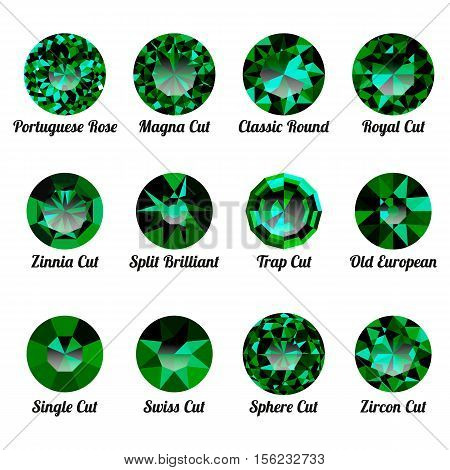 Set of realistic green emeralds with round cuts isolated on white background. Jewel and jewelry. Colorful gems and gemstones. Magna classic round royal zinnia trap single swiss sphere zircon