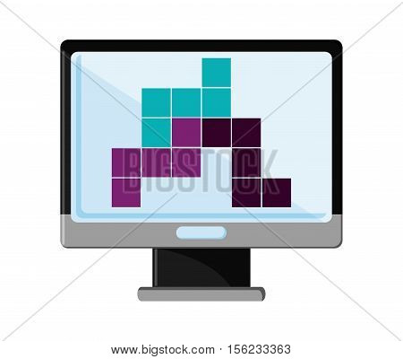 Computer and tetrix videogame icon. Game play leisure gaming and controller theme. Isolated design. Vector illustration