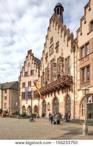 FRANKFURT AM MAIN GERMANY - May 07.2014: City landscape. Ancient building of City Hall is in historical part of city