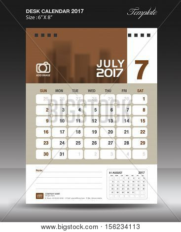 July Desk calendar 2017, Brown Calendar 2017,  vertical calendar 2017 size 6 x 8 inch vector template