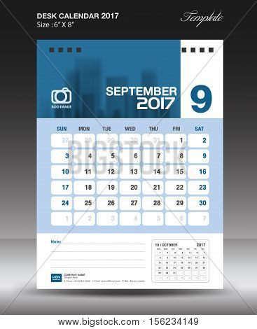 September Desk calendar 2017, Blue Calendar 2017, vertical calendar 2017 size 6 x 8 inch vector template