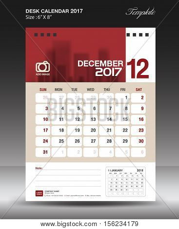 December Desk calendar 2017,  Red Calendar 2017, vertical calendar 2017 size 6 x 8 inch vector template