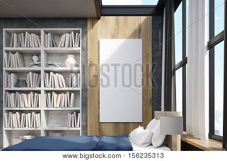 Side View Of Bedroom With Poster And Bookcase