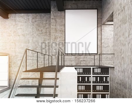 Close up of stairs framed poster and bookcases in concrete office. Concept of loft factory used for office purposes. 3d rendering. Mock up. Toned image