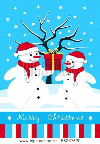 vector christmas card with pair of snowmen with gift in snowy landscape