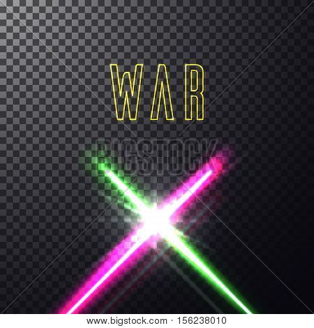 Realistic bright colorful laser neon beams. Crossed light swords on isolated transparent black background. Weapon futuristic from war. Vector illustration, design elements for your projects