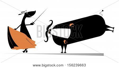 Dog bullfight. Dog bullfighter aims to the bull by sword