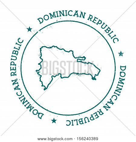 Dominican Republic Vector Map. Retro Vintage Insignia With Country Map. Distressed Visa Stamp With D