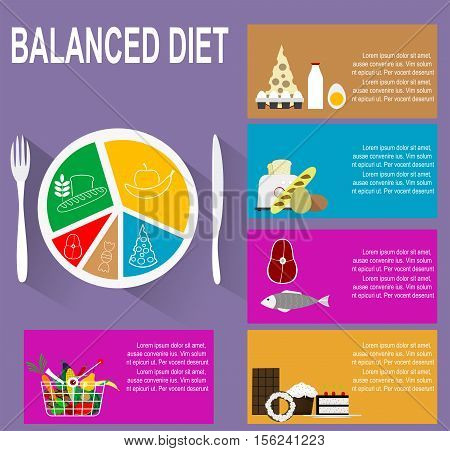 Infographic Chart Of Healthy Plate Nutrition Proportions Shows And Balanced Diet For Successful
