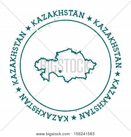 Kazakhstan Vector Map. Retro Vintage Insignia With Country Map. Distressed Visa Stamp With Kazakhsta