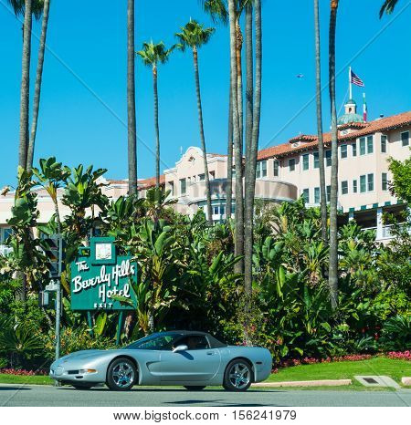 LOS ANGELES CALIFORNIA - NOVEMBER 02 2016: The Beverly Hills Hotel on a clear day