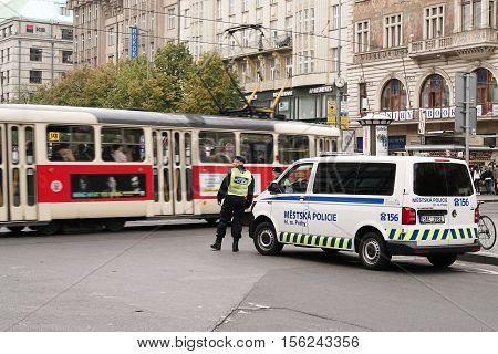 CZECH REPUBLIK, PRAGUE - OCTOBER 18, 2016: Intensified police presence in the inner city of Prague. Since Prague is considered as a possible attack target, the police presence was increased.