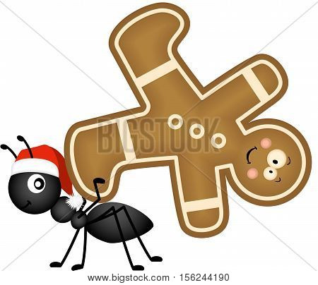 Scalable vectorial image representing a ant carrying a Christmas man cookie, isolated on white. EPS10.