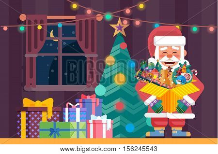 Stock vector illustration of festive interior with Santa Claus with open box with toys and candy in his hand near decorated Christmas tree and gifts in flat style for Happy New Year 2017 background.