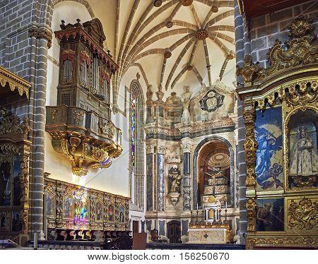 Evora Portugal - November 29 2016. Altar choir and pipe organ in chancel of Igreja de Sao Francisco church. Evora Portugal.