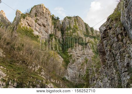 Looking up at cliffs of Cheddar Gorge. High limestone cliffs in canyon in Mendip Hill in Somerset England UK