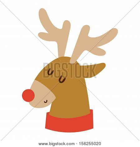 Cute deer cartoon comic wild vector character. Vector wild mammal cartoon deer humor mascot. Elk antler holiday symbol stag nature cartoon deer forest animal character.