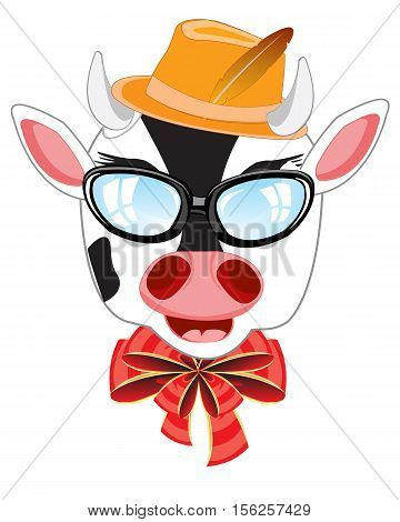 Head of the cow bespectacled and hat on white background