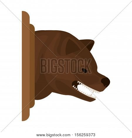 color image with decorative bear head growling vector illustration