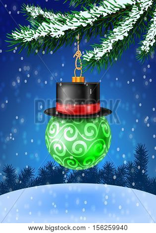 Christmas green bauble on christmas tree with snow on evergreen branches. Vector illustration on blue background with snow