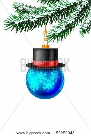 Christmas blue bauble on christmas tree with snow on evergreen branches. Vector illustration on white background with snow