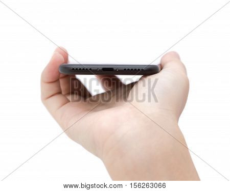 hand holding phone showing usb port connect on white background
