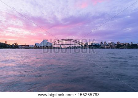 View of  Sydney Opera House Sydney Australia at sunset from Mrs macqurie's Chair.NOV 13,2016 The Sydney Opera House is a famous arts center. It was designed by Danish architect Jorn Utzon, finally opening in 1973.