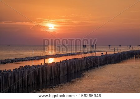 Wonderful  golden Sunset  on ocean in natural climate tropical at Bangkhunthien place is a bordering the sea of Bangkok / Thailand, well-know fresh and cheap seafood restaurants. Bamboo dike is  build to prevent flooding from the sea.