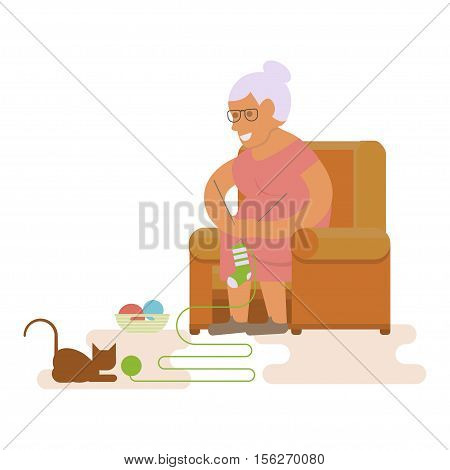 Grandmother. Elderly woman. Grandma is sitting in chair and knits a sock. Vector illustration of a flat design
