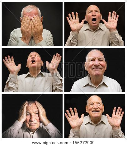 The old man with different emotions on a dark background. Collage