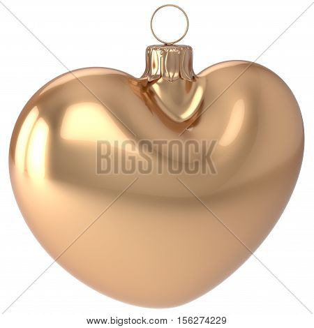 Christmas ball New Years Eve bauble golden heart shape adornment decoration blank. Happy Merry Xmas traditional wintertime holidays ornament love greeting card festive design element. 3d illustration