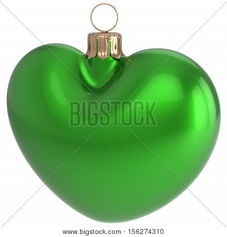 Christmas ball heart shaped New Years Eve bauble green adornment decoration blank. Happy Merry Xmas traditional wintertime holidays ornament love greeting card festive design element. 3d illustration
