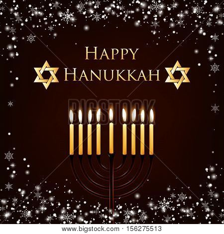 Vector Hanukkah background with menorah and david star. Shining stars and snowballs on the back. Happy Hanukkah background. Elegant greeting card